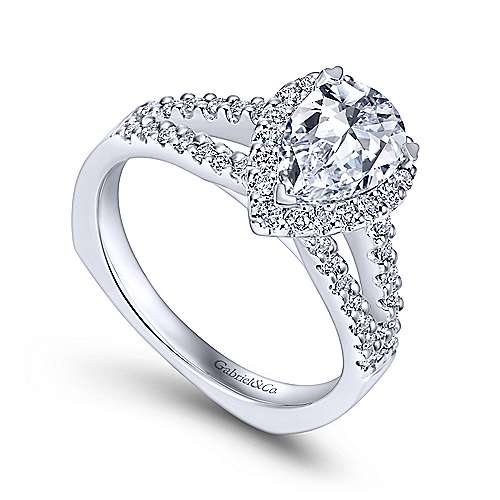 14k White Gold Diamond Halo Engagement Ring angle 3