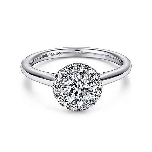 14k White Gold Diamond Halo
