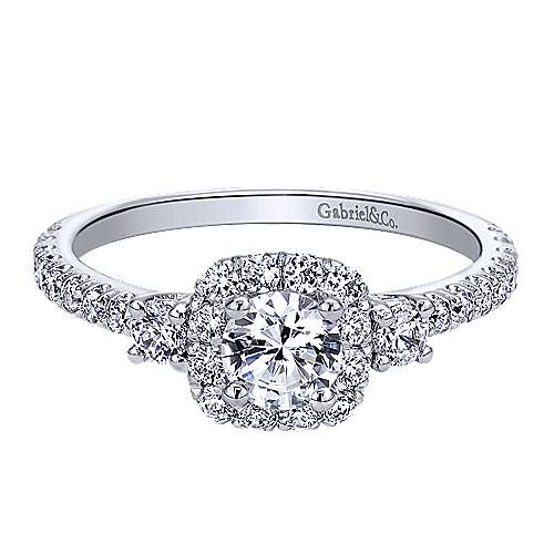 Gabriel - 14k White Gold Round Halo Engagement Ring