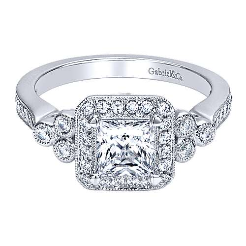 14k White Gold Diamond Halo Engagement Ring angle 1