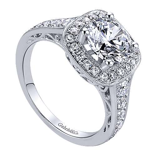 14k White Gold Diamond Halo Engagement Ring angle 3