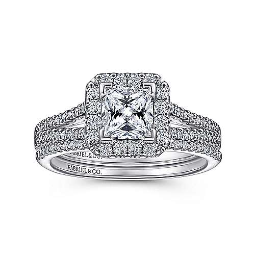14k White Gold Diamond Halo Engagement Ring angle 4