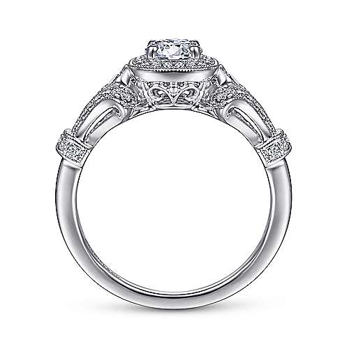 14k White Gold Diamond Halo Engagement Ring angle 2