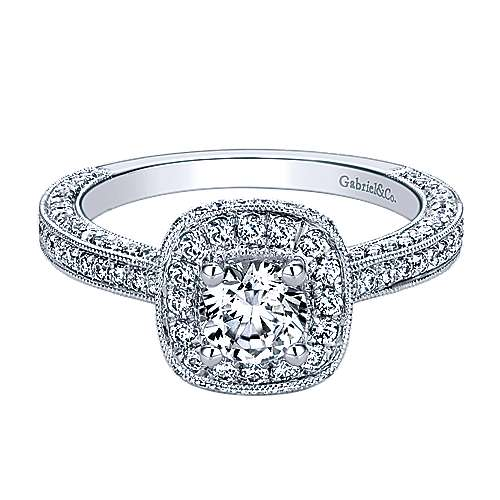 Gabriel - 14k White Gold Victorian Engagement Ring