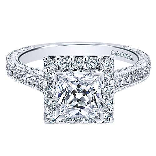 14k White Gold Princess Cut Halo