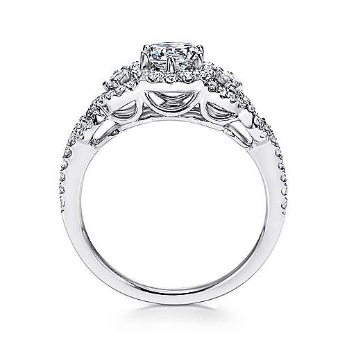 14k White Gold Diamond Halo Slight Twisted Shank Engagement Ring angle 2