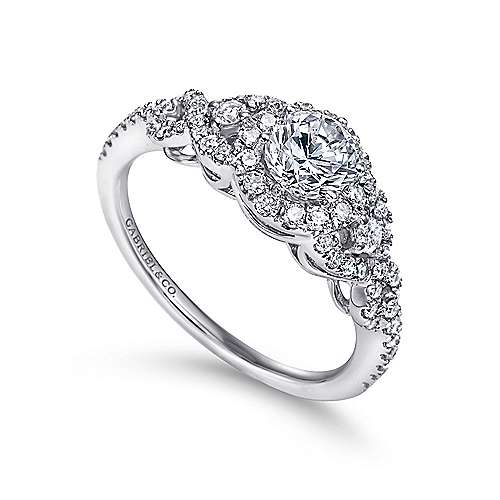 14k White Gold Diamond Halo Slight Twisted Shank Engagement Ring angle 3
