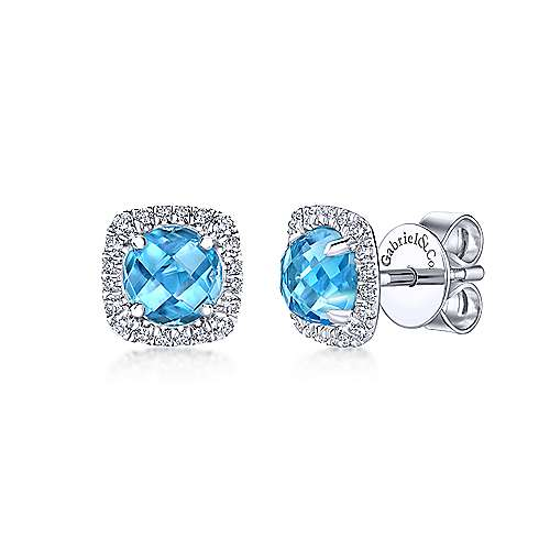 14k White Gold Diamond Halo Swiss Blue Topaz Stud Earrings