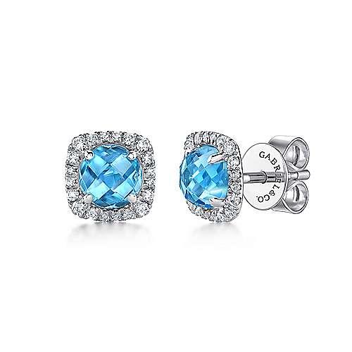 607f3c0d525b2 14k White Gold Diamond Halo Swiss Blue Topaz Stud Earrings ...