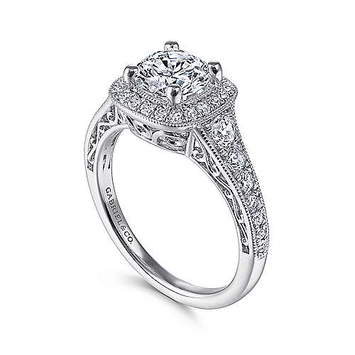 14k White Gold Diamond Halo and Channel Milgrain Engagement Ring angle 3