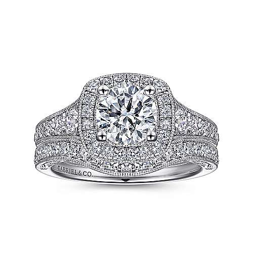 14k White Gold Diamond Halo and Channel Milgrain Engagement Ring angle 4