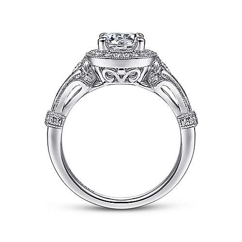 14k White Gold Diamond Halo and Filgree Setting Engagement Ring angle 2