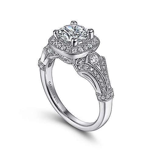 14k White Gold Diamond Halo and Filgree Setting Engagement Ring angle 3
