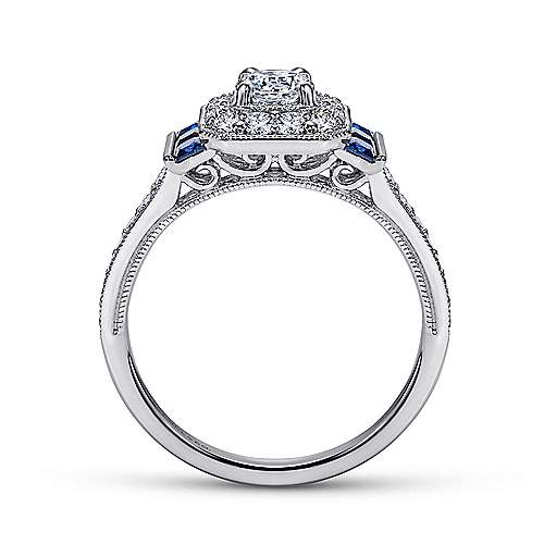 14k White Gold Diamond Halo and Side Sapphire Engagement Ring with Milgrain Detailing angle 2