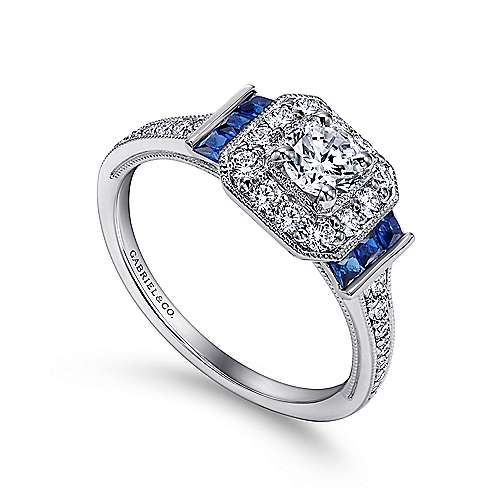 14k White Gold Diamond Halo and Side Sapphire Engagement Ring with Milgrain Detailing angle 3