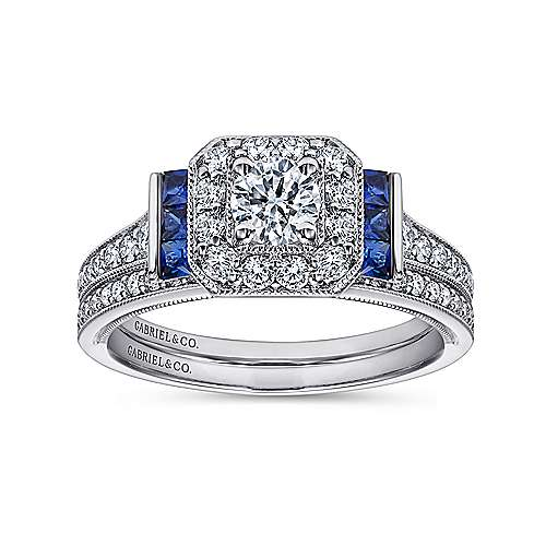 14k White Gold Diamond Halo and Side Sapphire Engagement Ring with Milgrain Detailing angle 4