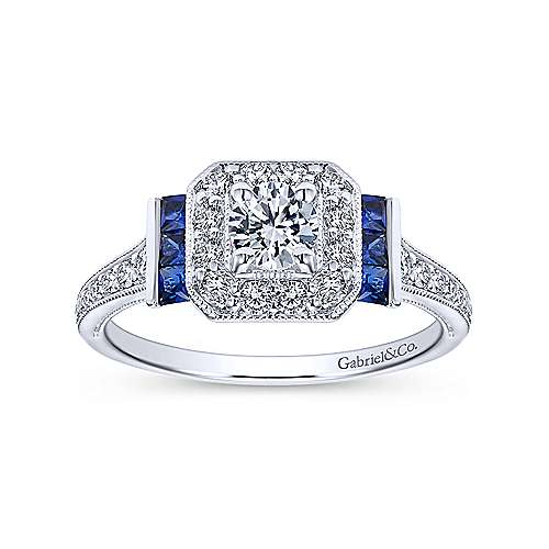 14k White Gold Diamond Halo and Side Sapphire Engagement Ring with Milgrain Detailing angle 5
