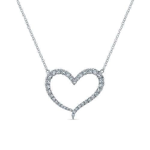 14k White Gold Diamond Heart