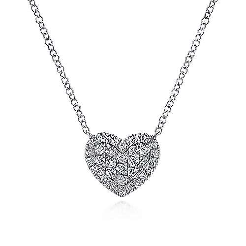 14k White Gold Diamond Heart