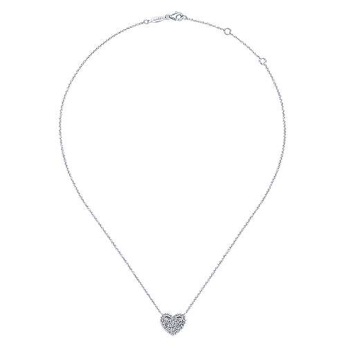 14k White Gold Diamond Heart Necklace angle 2