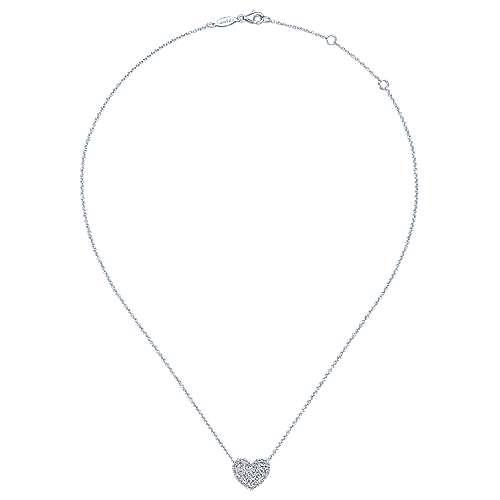 14k White Gold Diamond Heart Necklace angle 2