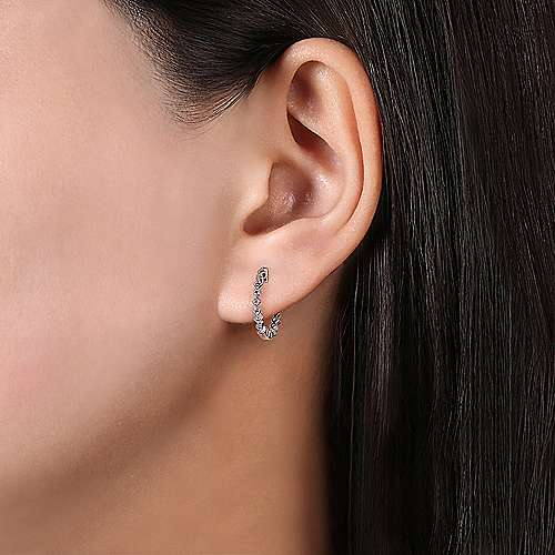 14k White Gold Diamond Huggie Earrings angle 2