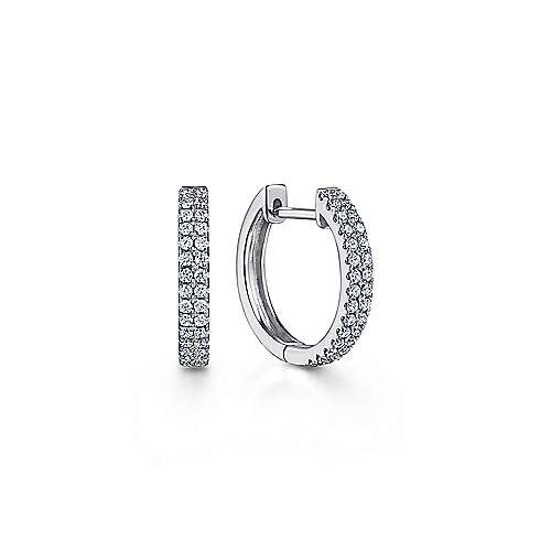 14k White Gold Diamond Huggie Earrings angle 1