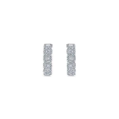 14k White Gold Diamond Huggie Earrings angle 3