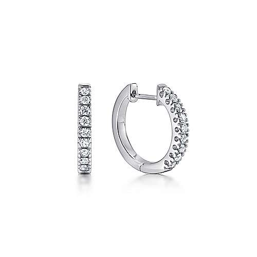 14k White Gold Diamond Huggie