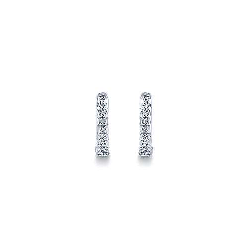 14k White Gold Diamond Huggie Earrings angle 3
