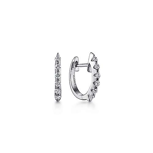 Gabriel - 14k White Gold Huggies Huggie Earrings