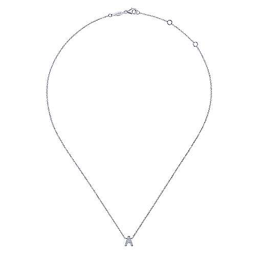 14k White Gold Diamond Initial A Pave Necklace angle 2