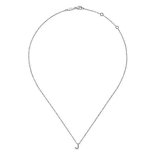 14k White Gold Diamond Initial J Pave Necklace angle 2