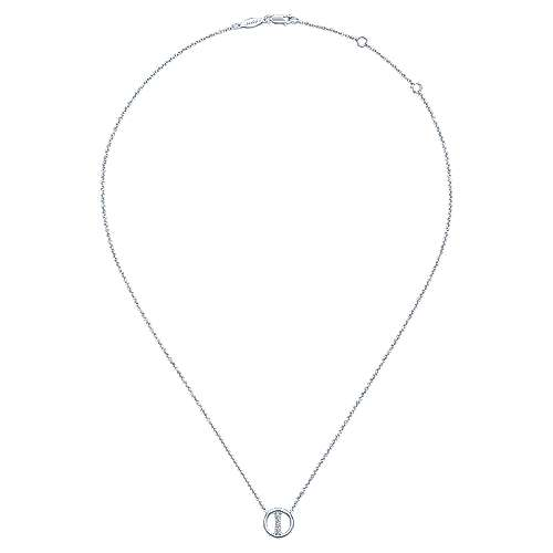 14k White Gold Diamond Initial Necklace angle 2