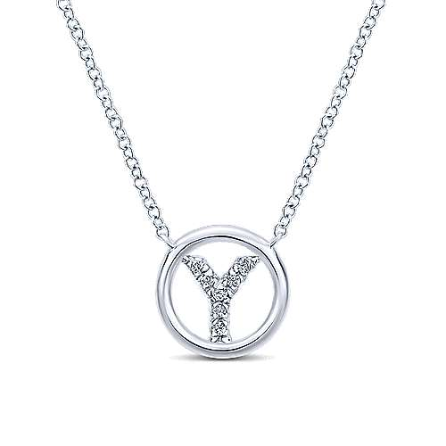 14k White Gold Diamond Initial Necklace angle 1
