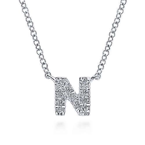 14k White Gold Diamond Initial