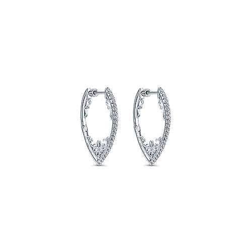 14k White Gold Diamond Intricate Hoop