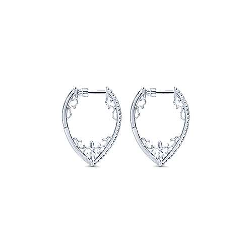 14k White Gold Diamond Intricate Hoop Earrings angle 2