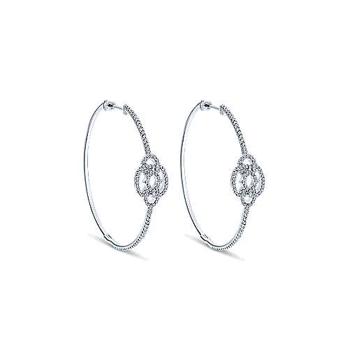 14k White Gold Diamond Intricate Hoop