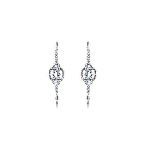 14k White Gold Diamond Intricate Hoop Earrings angle 3
