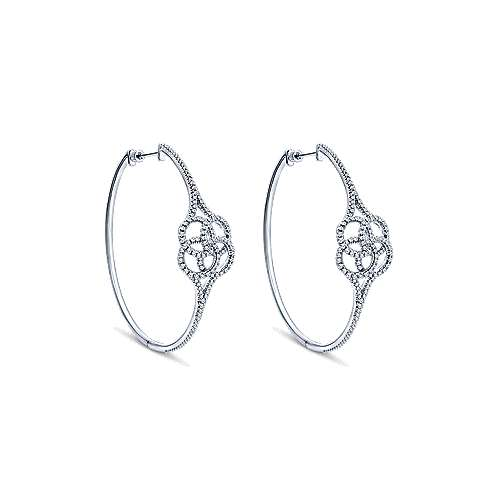 14k White Gold Hoops Intricate Hoop