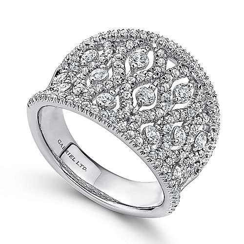 14k White Gold Diamond Intricate Wide Pave Band Ladies