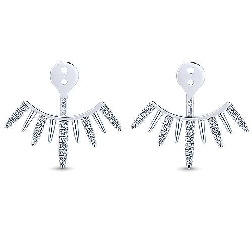Gabriel - 14k White Gold Gemini Earrings Jacket Earrings
