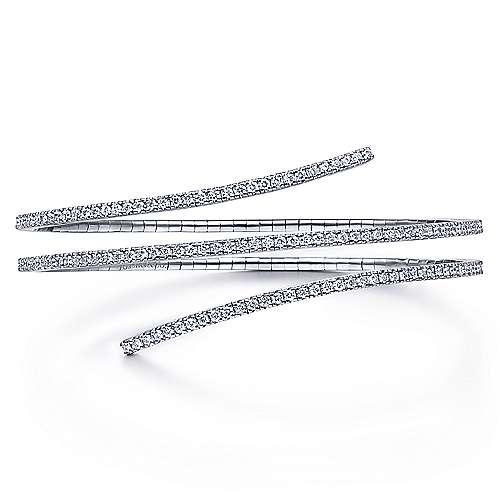 Gabriel - 14k White Gold Diamond Layered Wrap Bangle Bracelet