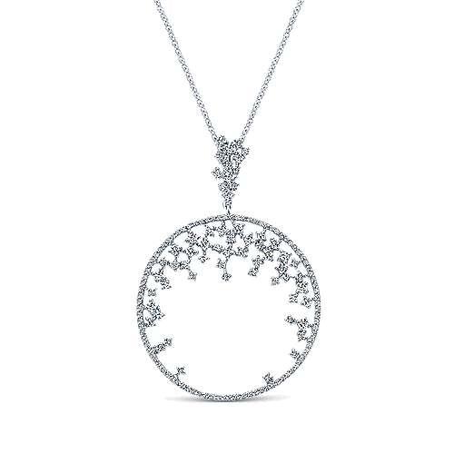 Gabriel - 14k White Gold Lusso Diamond Medallion Necklace