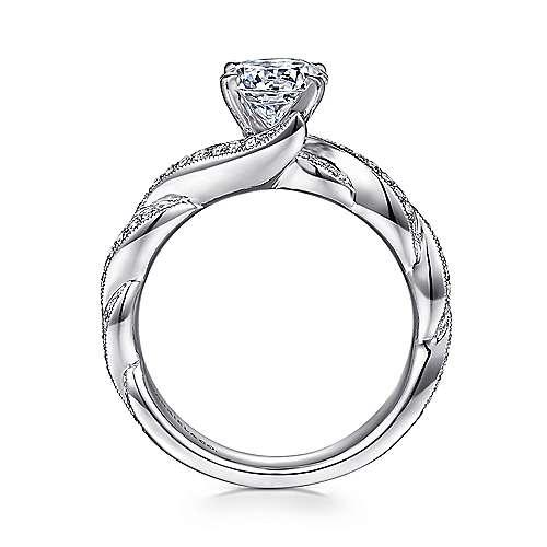 14k White Gold Diamond Milgrain Pave Criss Cross Engagement Ring angle 2