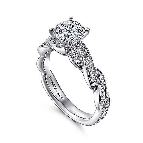 14k White Gold Diamond Milgrain Pave Criss Cross Engagement Ring angle 3