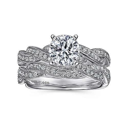 14k White Gold Diamond Milgrain Pave Criss Cross Engagement Ring angle 4