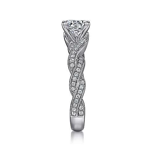 14k White Gold Diamond Milgrain Pave Criss Cross Engagement Ring angle 5