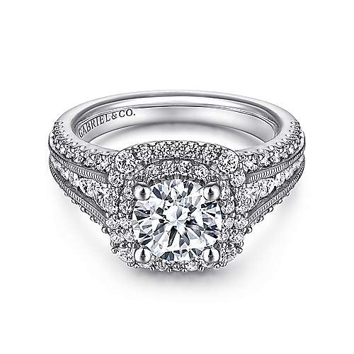 14k White Gold Diamond Milgrain and Channel Setting Double Halo Engagement Ring angle 1